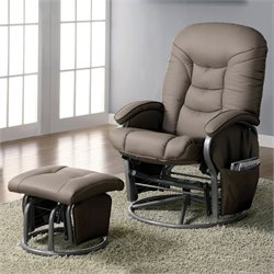 Coaster Faux Leather Recliners with Ottomans in Beige