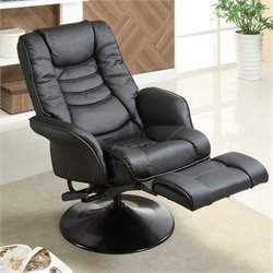 Coaster Recliners Casual Swivel Recliner Chair in Black Leatherette
