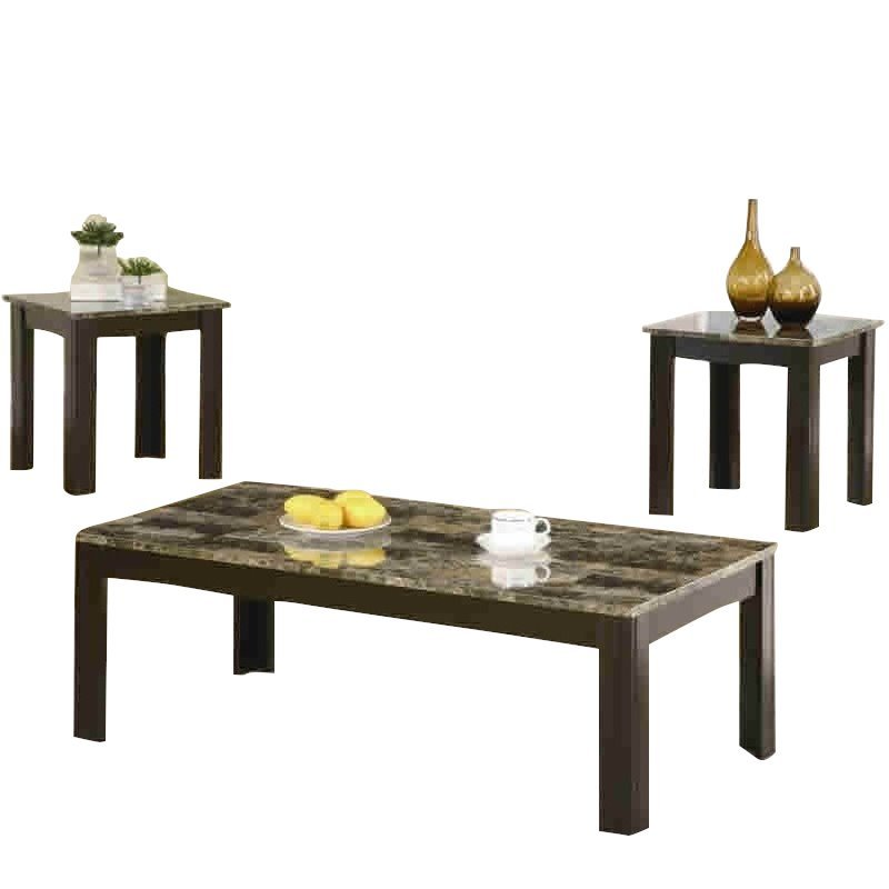 Coaster 3 Piece Marble-Look Top Occasional Table Set in Black