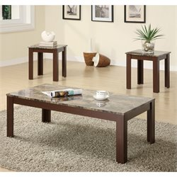 Coaster 3 Piece Occasional Cocktail and End Table Set in Brown