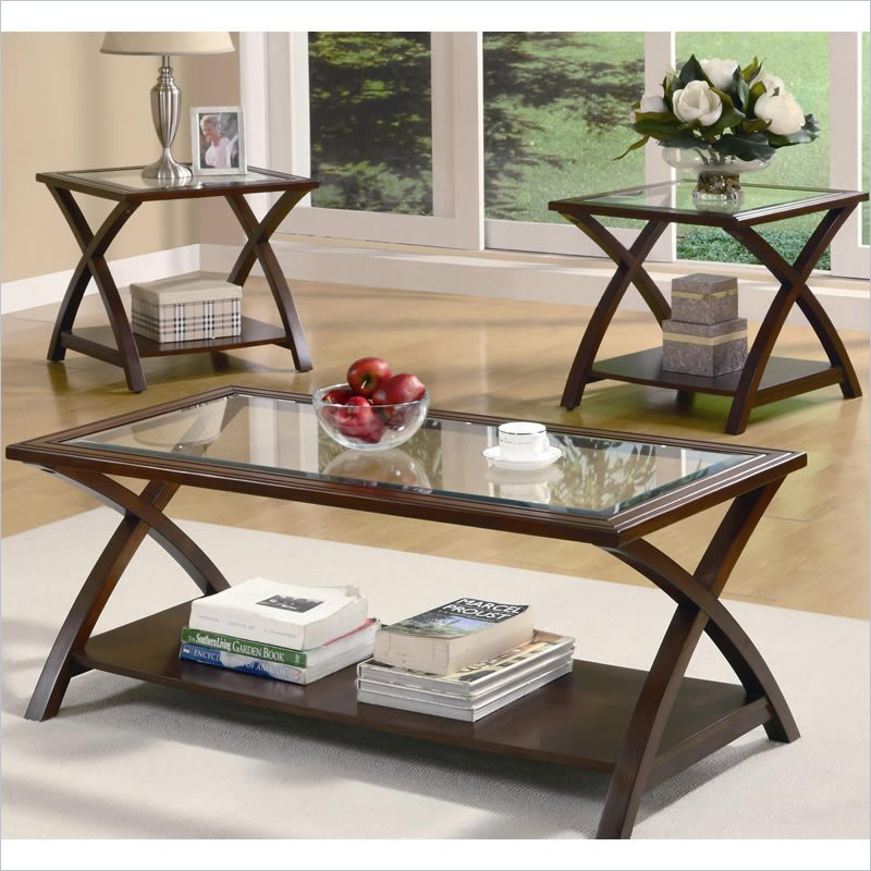 Coaster 3 piece glass top coffee table set in cappuccino for 3 piece living room table sets