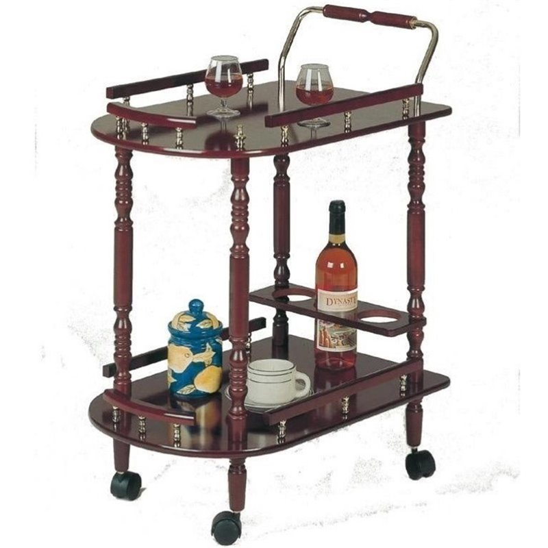 3512 Serving Cart with Brass Accents in Cherry Finish