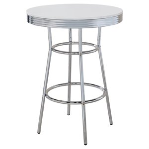 Coaster Cleveland 1950s Soda Fountain Chrome Pub Table with White Top