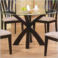 Coaster Shoemaker Crossing Pedestal Dining Table With Gl Top In Cuccino