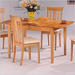 Coaster Davie Rectangular Leg Dining Table with Butterfly Leaf in Warm Natural Finish
