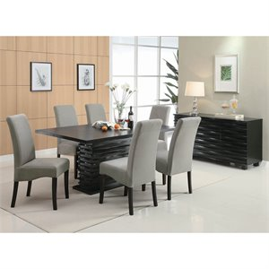 Coaster Stanton Rich Black Dining Chair in Gray