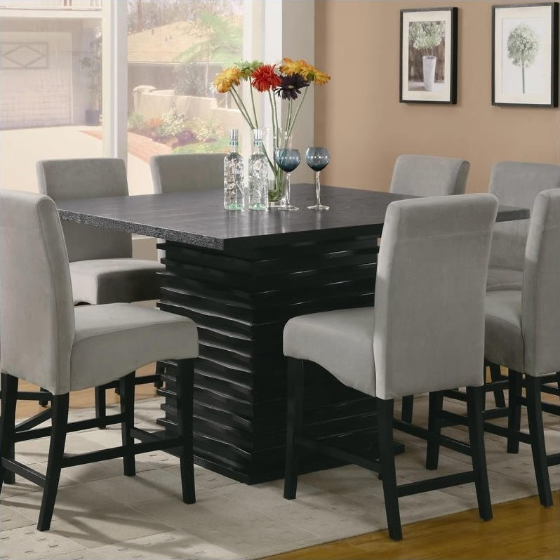 Coaster Stanton Contemporary Square Counter Height Dining Table in Black Finish