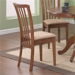 Coaster Brannan Slat Back  Dining Chair with Upholstered Seat in Warm Maple Finish