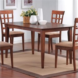 Coaster Hyde Rectangular Leg Dining Table in Warm Medium Walnut