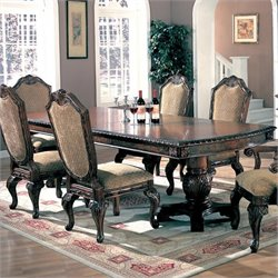 Coaster Saint Charles Dining Table with Double Pedestal in Deep Brown Finish