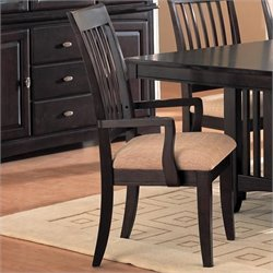 Coaster Monaco Arm Dining Chair with Fabric Seat in Rich Dark Cappuccino