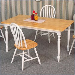 Coaster Damen Rectangle Leg Dining Table in Warm Natural and White Wood Finish