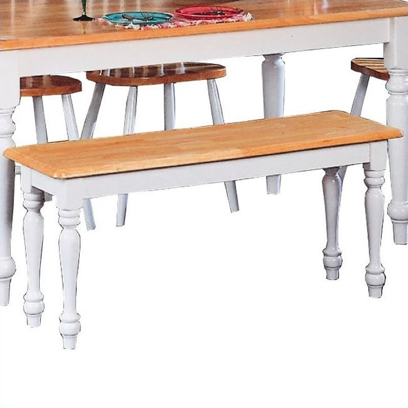 Damen Traditional Wood Dining Bench in Warm Natural and White Finish