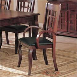 Coaster Newhouse Arm Dining Chair with Faux Leather Seat in Cherry Finish