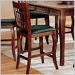 ADD TO YOUR SET: Coaster Newhouse 24 Inch Bar Stool with Grid Back Black Faux Leather in Cherry
