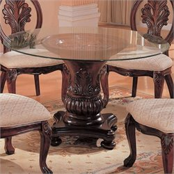 Coaster Tabitha Traditional Round Dining Table with Glass Top in Dark Cherry