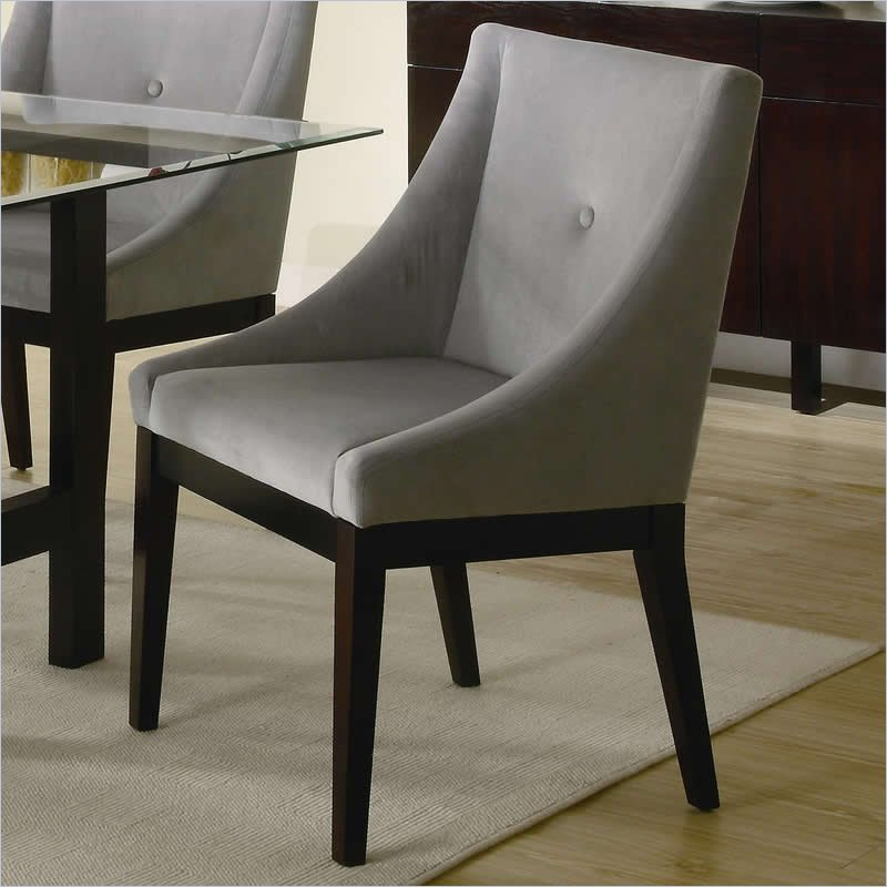 Coaster alvarado upholstered dining chair in cappuccino for Dining room end chairs