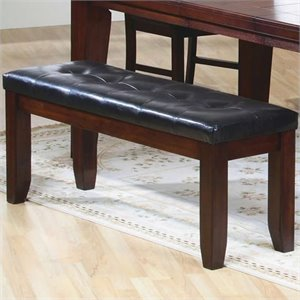 Coaster Imperial Dining Height Upholstered Bench in Rustic Oak