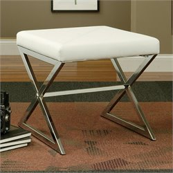 Coaster Faux Leather Ottoman with Metal Base in White