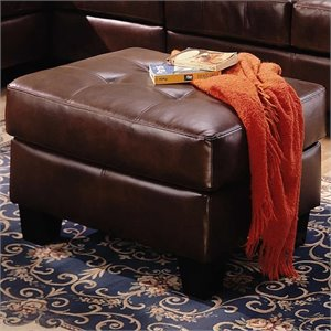 Coaster Samuel Contemporary Leather Ottoman in Chocolate