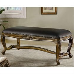 Coaster Benches Traditional Upholstered Bench in Black