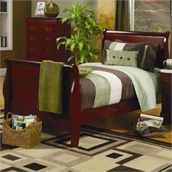 Coaster Saint Laurent Sleigh Bed in Cherry Finish - Twin