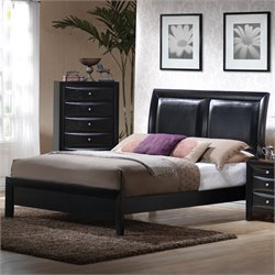 Coaster Briana Low Profile Upholstered Bed in Black Finish - Queen