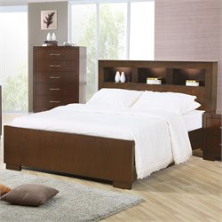 Coaster Jessica Bookcase Bed in Light Cappuccino Finish - Queen