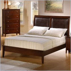 Coaster Tamara Faux Leather Upholstered Panel Bed in Walnut Finish - Queen
