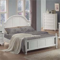 Coaster Kayla Panel Bed in Distressed White Finish - California King