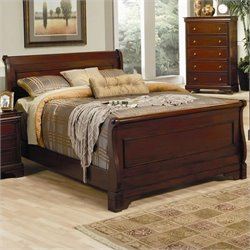 Coaster Versailles Sleigh Bed in Deep Mahogany - California King