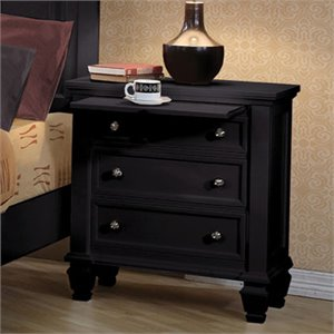 Coaster Sandy Beach 3 Drawer Night Stand in Black