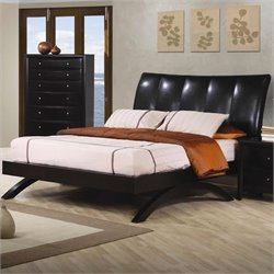 Coaster Phoenix Queen Leather Upholstered Bed in Brown and Cappuccino