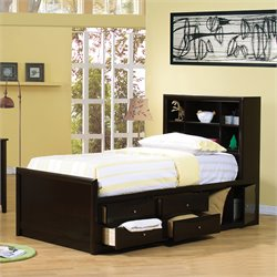 Coaster Phoenix Bookcase Storage Bed in Cappuccino Finish - Twin