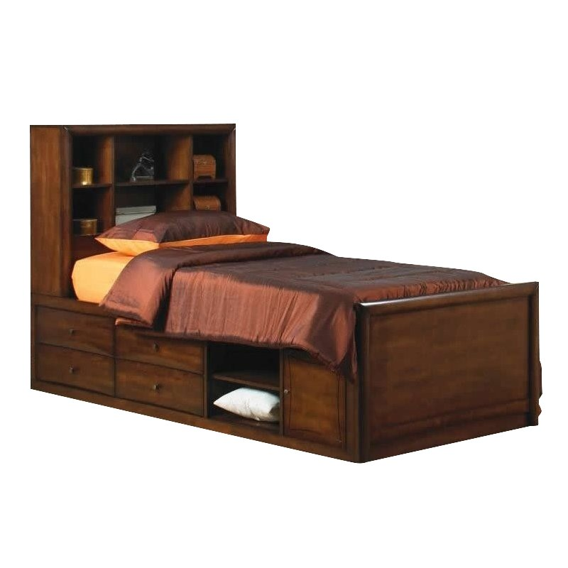 Coaster Hillary and Scottsdale Bookcase Storage Bed in Warm Brown