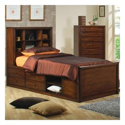 Coaster Hillary and Scottsdale Bookcase Storage Bed in Warm Brown - Twin