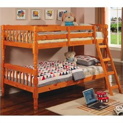 Coaster Corinth Twin over Twin Bunk Bed in Medium Pine Finish