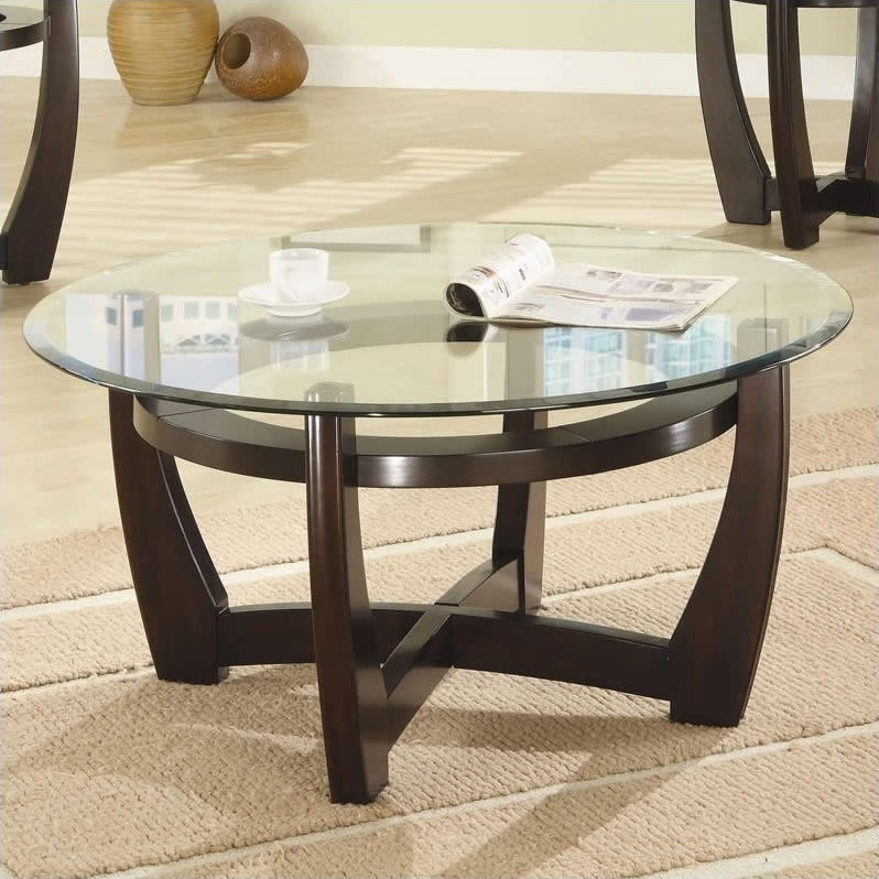 coaster 3 piece contemporary glass top occasional table set in cappuccino 700295. Black Bedroom Furniture Sets. Home Design Ideas