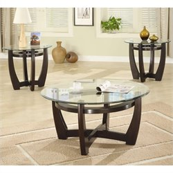 Coaster 3 Piece Contemporary Glass Top Occasional Table Set in Cappuccino