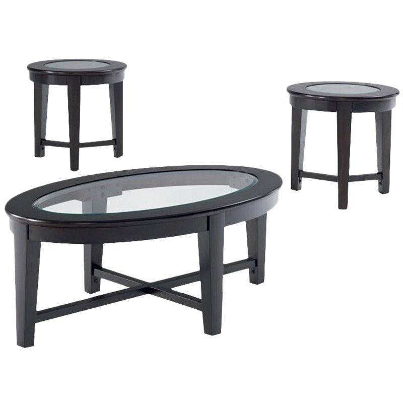 Coaster Stansall 3 Piece Glass Top Coffee Table Set in Dark Cappuccino
