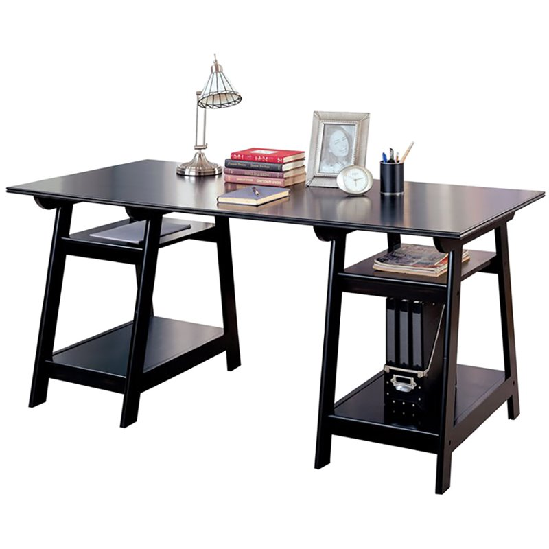 Coaster Desks Casual Double Pedestal Trestle Desk With