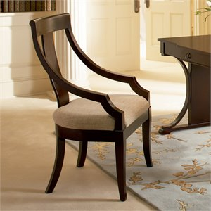 Coaster Crest Vertical Splat Arm Dining Chair w/ Fabric Seat in Cherry