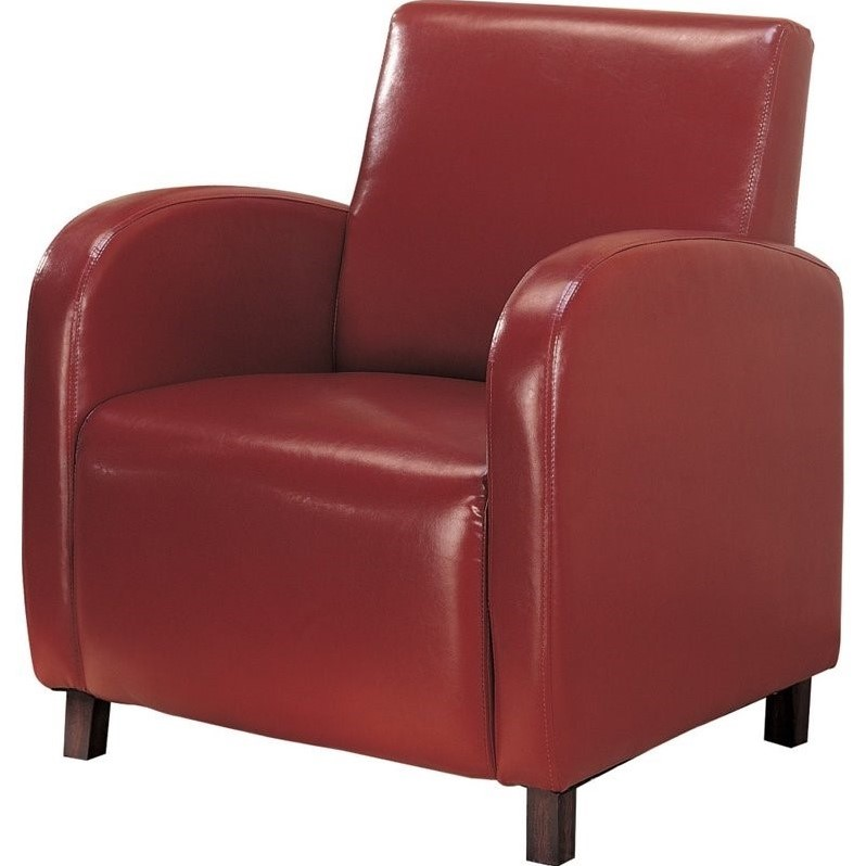 Coaster Accent Faux Leather Club Arm Chair in Red