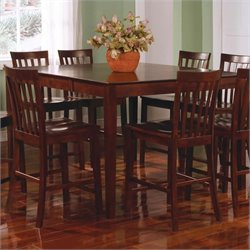 Coaster Pines Counter Height Dining Leg Dining Table with Leaf in Walnut