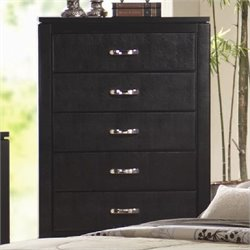 Coaster Dylan Faux Leather 5 Drawer Chest with Black