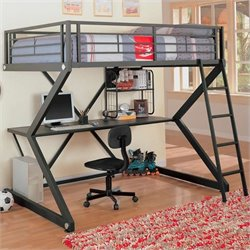 Coaster Bunks Workstation Full Loft Bed in Black Matted Finish