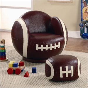 Coaster Kids Sports Chairs Small Kids Football Chair and Ottoman
