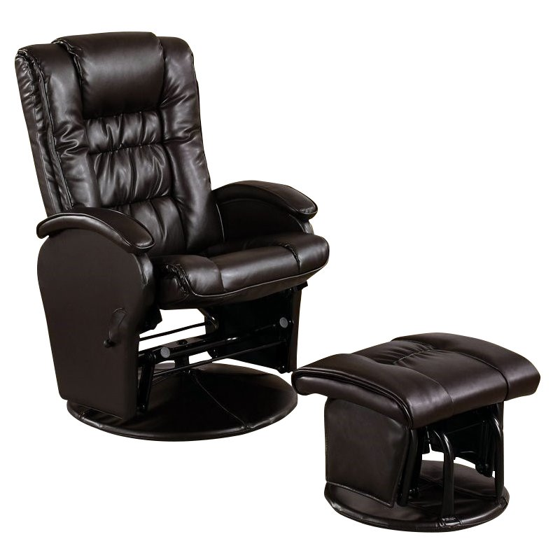 coaster faux leather like glider chair with matching ottoman in