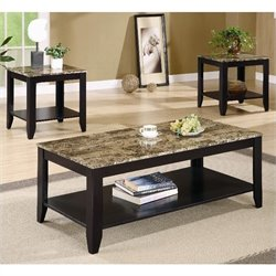 Coaster 3 Piece Faux Marble Top Occasional Table Set in Black