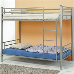 Coaster Denley Metal Bunk Bed in Silver Finish - Twin over Twin